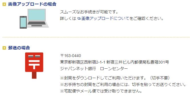 ジャパンネット銀行カードローンの収入証明書の提出