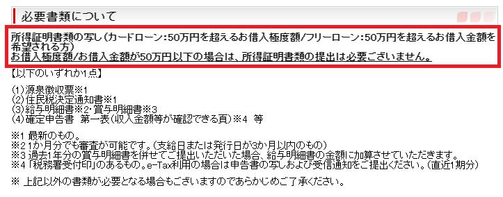 千葉銀行カードローンの必要書類(収入証明書)