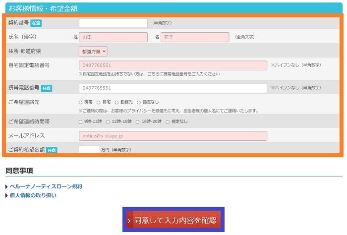 ベルーナノーティスの増額申込②